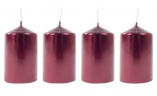 Metallic-Stumpenkerzen weinrot 4er-Set Adventskerzen Weihnachtskerzen Tischdeko