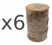 6er Set Holz-Nordlicht Schwedenfeuer Kerze Partylicht Gartendeko Baumstammfackel