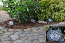 3er Set LED Solarsteine Leuchtsteine Dekosteine Solarleuchte Stein Gartendeko