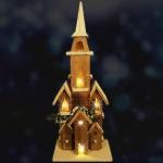 Weihnachtsdeko 20 LED Weihnachtsbeleuchtung 70cm Holzkirche Weihnachtskirche neu