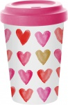 """ppd Coffee to go Becher ,, Aquarell Heart gold"""" 603340 Travel Mug Herarts Gold"""