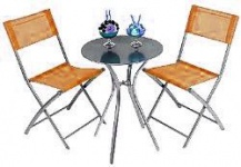 Bistro-Sitzgruppe, 3tlg 2 St.+Tisch, D:52cm orange