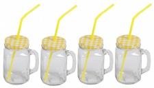 4x Henkelglas inkl. Deckel gelb & Strohhalm Trinkglas Trinkbecher Glas 480ml