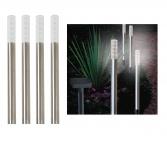 4er Set LED-Solar-Stableuchten Gartenleuchte Effekt-Dekolicht Gehwegbeleuchtung