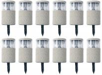 12x LED-Solarlampe Steinoptik 19x11cm Gartenlampe Dekolicht Wegeleuchte Erdspieß