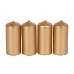 4er Set Metallic-Stumpenkerzen 40x90mm Gold Adventskerzen Weihnachten Kerzen