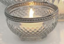 LICHTSCHALE Glas-Lichtschale Glas Metallrand