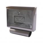 Edelstahl Briefkasten mit Zeitungsfach Postkasten Zeitungsrolle Wandbriefkasten
