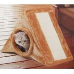 Katzenhöhle mit Kratzbrett Katzenbett Schlafplatz Kuschelhöhle Katzenkratzbaum