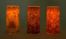 2er-Set LED Wachskerze 15x7, 5 cm Flackerlicht Fernbedienung Tischdeko Motivkerze