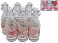 6er Set Lory Flasche 0, 5L Country Love Bügelverschluss Abfüllen Fluppverschluss
