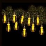 Lichterkette mit 10 LED-Glühbirnen und Timer Leuchtdeko Girlande orange-warmweiß