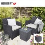 Allibert Balkon-Loungegruppe Merida Graphit mit Staufach Gartenmöbel Sitzgruppe