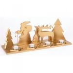 Holz-Deko Teelichthalter gold