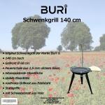 B-Ware Schwenkgrill der Marke Buri ® Feuerschale Eisen Kurbel Grill Standfüße
