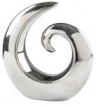 Dekofigur Spirale 20cm Silber Skulptur Keramik Dekoobjekt Tischdeko Fensterdeko