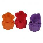 Silikon-Muffinförmchen 12er-Set Blütenform Backform Cupcake Muffin Kuchenform