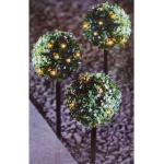 LED-Solar-Buchsbaumkugeln 3er-Set