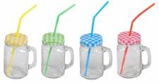 Henkelglas inkl. Deckel & Strohhalm Trinkglas Trinkbecher Glas versch.Farben
