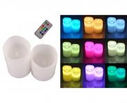 2er-Set LED Wachskerzen mit Farbwechsel + Fernbedienung Stumpenkerze Tischdeko