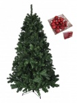 BURI® Weihnachtsbaum 180cm + 100er-Set Weihnachtsbaumkugeln rot Christbaumkugeln