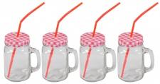 4x Henkelglas inkl. Deckel rot & Strohhalm Trinkglas Trinkbecher Glas 480ml