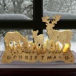 LED-Weihnachtsdeko Rentiere 30x20cm Fensterdeko Lichterbogen Tischdeko Holzfigur