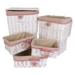Geflechtkörbe-Set 5-tlg. Wäschekorb Wäschesammler Badezimmer-Aufbewahrungskorb