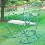 Metall Schaukelstuhl Antik-Grün mit Auflage Gartenstuhl Schwingsessel Relaxliege