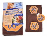 Hundepflegeset Microfaser mit Hundehandtuch + Waschhandschuh waschbar universal