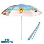 Minions Kinder Sonnenschirm 140cm mit Tasche Strandschirm Gartenschirm UV-Schutz