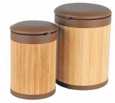2er-Set Bambus Wäschetonnen Wäschekorb Wäschetruhe Sitztonne Wäschesammler Box