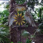 Gartenstecker Eule mit Windrad Beetstecker Gartenfigur Gartendeko Metalldeko