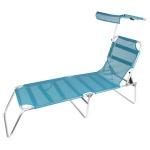 Alu-Liege mit Sonnenschutz Sonnenliege Gartenliege Terrassenliege Campingliege