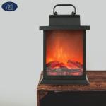 Deko LED Laterne mit Kaminfeueroptik 21, 5cm Flammeneffekt Kamin Effekt Wohndeko