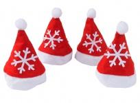 Deko-Filz-Weihnachtsmütze 4er-Set 11x7cm Nikolausmütze Weihnachtsdeko Tischdeko