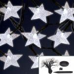 Solar LED Lichterkette Sterne 6, 7m mit Blinkfunktion Weihnachtsbeleuchtung Deko