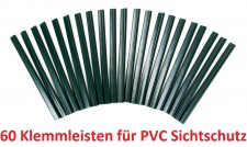 60 PVC grün Klemmleisten für Sichtschutz Klemmschienen Zaunblende Doppelstabmatten