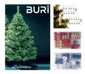 BURI® Weihnachtsbaum 180cm mit Weihnachtsbaumschmuck und Christbaumkerzen