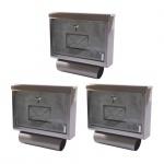 3x Edelstahl Briefkasten + Zeitungsrolle Postkasten Zeitungsfach Wandbriefkasten