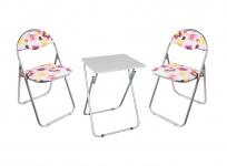 Camping Sitzgarnitur Klapptisch Klappstühle Gartentisch Gartenstühle Blumenmotiv