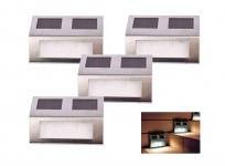 Solar Treppenstrahler 4er-Set Treppenlampen Stufenlichter Treppenbeleuchtung