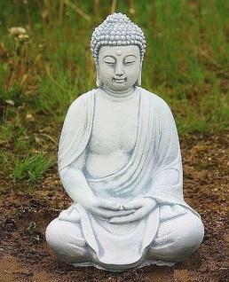SITZENDER BUDDHA, ASIATISCH BUDDHA FIGUR STEINGUSS, NEU, FROSTFEST BUDDHAS 4013
