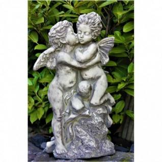ENGEL küßt ELFE FIGUR aus STEINGUSS FROSTFEST STEINFIGUR, GARTEN DEKO V-114502