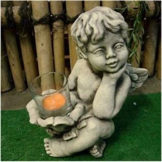ENGEL MIT TEELICHTHALTER AUS GLAS FIGUR STEINGUSS NEU FROSTFEST CHERUB V-114730