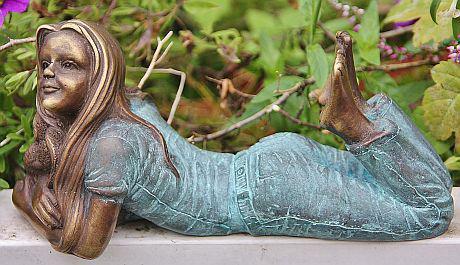 Bronzefigur Mädchen mit Elefant, Figur aus Bronze - Vorschau 1