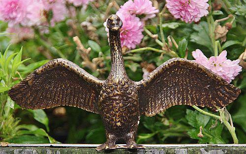 Bronzefigur Schwan, Tierfigur aus Bronze, Vogel, Vögel, Schwäne