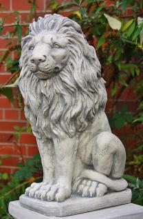 Steinfigur Löwe aus Steinguss mit Sockel frostfest 91 cm H Löwen - Vorschau 2