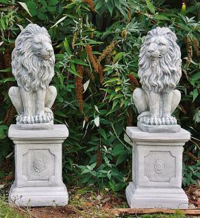 Steinfigur Löwenset aus Steinguss mit Sockeln frostfest 91 cm H Löwen - Vorschau 1