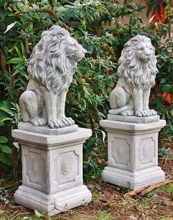 Steinfigur Löwenset aus Steinguss mit Sockeln frostfest 91 cm H Löwen - Vorschau 2